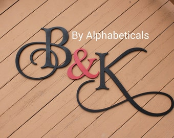 Wooden Signs Wooden Letters Wall Decor Wall Letters Name Sign Wooden Monogram Initial Monogram Wooden Initials Large Script Alphabeticals