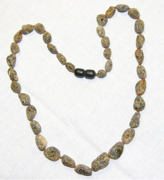 Olive Garden With Amberstone: Raw Unpolished Baltic Amber Necklace Olive Amber Beads 11