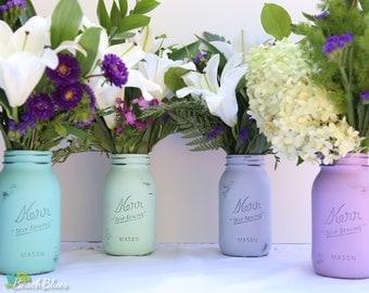 Purple and Aqua Mason Jars / Summer Home Decor / Wedding Decor / Vase / Centerpiece / Set of 4 quarts / blue turquoise / gift set of 4