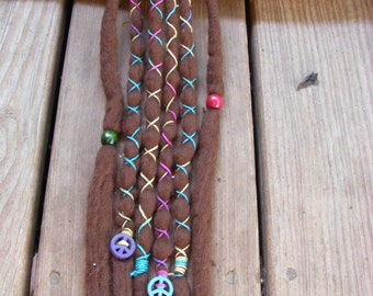 6 SE Bohemian Hippie Brown Wool Dreads Dreadlock Extensions Decorated WIth Peace Sign Charms & Wraps Ready To Ship