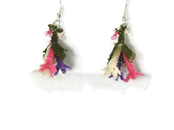 Multicolor crochet Earrings, Turkish Needlework oya Earrings, Fiber Earrings, Flower bouquet earrings, Gift  Bridesmates, Bohemian Jewelry
