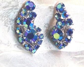 Vintage Blue Crystal Rhinestone Earrings c. 1930s Estate Jewelry