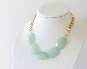 Aqua Mint Single Strand Statement Necklace on Chunky Gold Chain, Mint Statement Necklace