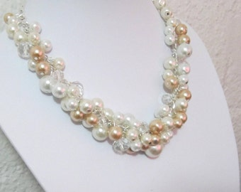 Pearl Necklace, Ivory and Champagne Pearl Necklace, Chunky Necklace, Pearl Cluster Necklace, Ivory Bridal Jewelry, Bridesmaid Necklace
