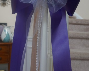 add your flowers LOTS of tulle pearl bead purple pew chair bows wedding arch bridal shower decorations purple orange lime green turquoise