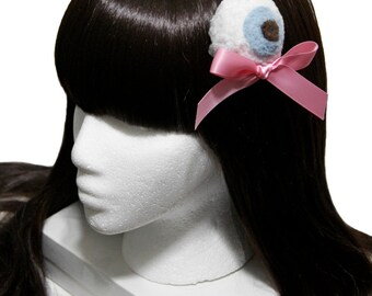 Sugar Creepshow - Creepy Cute Plushy Blue Eyeball Gothic and Lolita Hair Bow - Made to Order