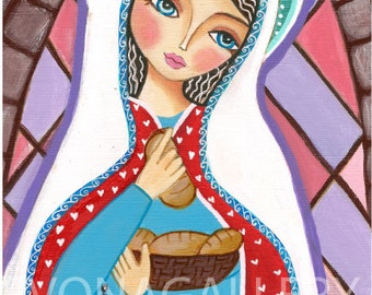 St. Elizabeth of Hungary, Art  Painting, Print  (6x9 inches, 15x23 cm), Mixed Media, Wall Decore by Evona