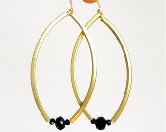 Dangle brass earrings, gold brass earrings, minimalist jewelry. Long earrings for everyday