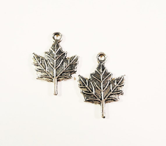 Maple Leaf Charms 18x13mm Antique Silver Tone Metal Alloy Small Leaves Nature Double Sided Charm Pendant Jewelry Making Findings 10pcs