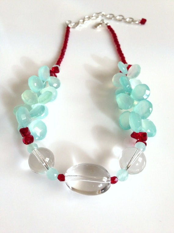Lush Aqua Chalcedony with Clear Quartz and Red Crystal Necklace