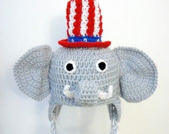 Republican Elephant Hat, Republican Party, GOP, Crochet Baby Hat, Animal Baby Hat, photo prop