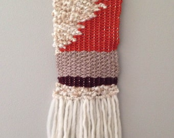 Orange and Brown Modern Handwoven Wall Hanging, Weaving, Wall Art, Fiber Textile
