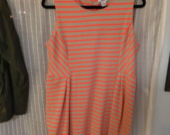 90s style striped dress neon neutral XL