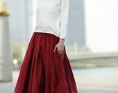Corduroy midi skirt in red C370
