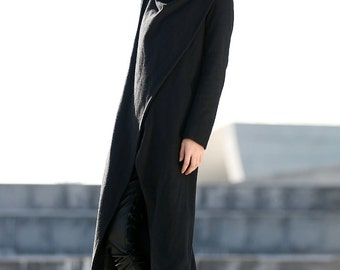 Black Coat Long Wool Coat Winter Coat Long Sleeve Coat Jacket for Women-CF076