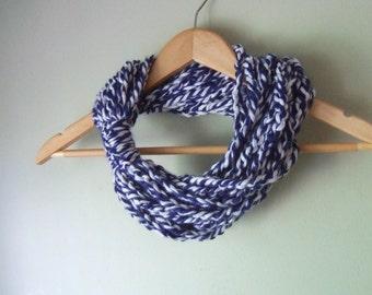 Blue White Scarf . Baseball Scarf . Football Scarf . Hockey Scarf . Rugby Scarf . Scarf Necklace . Infinity Chain Scarf . Blue Scarf