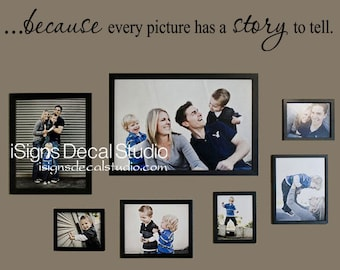 Because Every Picture Has a Story to Tell - Family Wall Quote - Family Room Decal -- Picture Collage Decal - Family Wall Decal