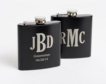 10, Monogrammed Flasks, Personalized Groomsmen Gift, Engraved Stainless Steel Flasks, Whiskey Flask, 10 Flasks