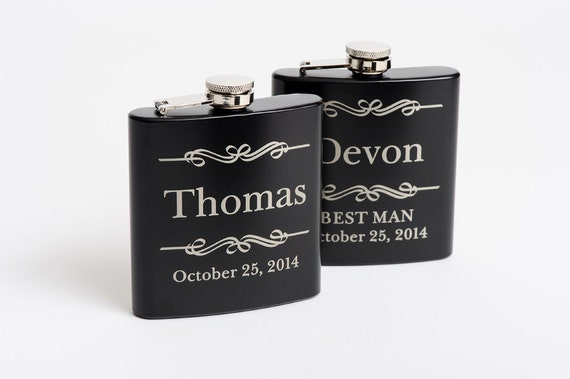 Personalized Groomsmen Gift, Engraved Flasks Personalized, Black Stainless Steel Flasks, Flasks