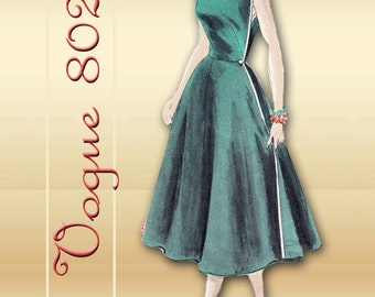 Vogue 8025 1950s Dress Pattern Mid Century Sleeveless Summer Scoop Neck Wrap Dress Unused Factory Folds