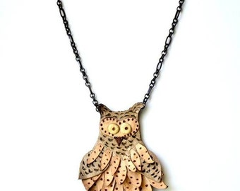 Handmade Caramel Leather Owl Necklace Brass Chain. Special Leather Jewelry