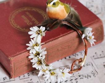 Bun Belt, woodland flower crown for your hair bun, floral crown, bun crown, birds, daisies, rustic wedding, cottage chic - Put a Bird On It