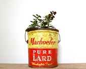 Vintage Red and Yellow Can // Graphic, Colorful Marhoefer's Lard Can, Vintage Advertising
