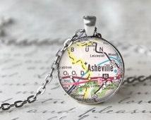 Asheville Necklace, City Map Necklace, Traveler Jewelry