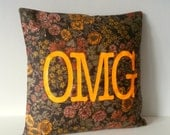 Vintage Fabric with Neon Vinyl OMG hipster Pillow Cover