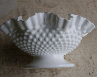 Vintage Fenton Low Footed Compote Or Footed Console Bowl Milk Glass Hobnail 1950s