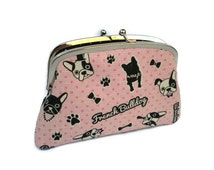 Pink kiss lock purse with Bulldogs, frame wallet with sections in black polka dot, boxer dog, boston terrier