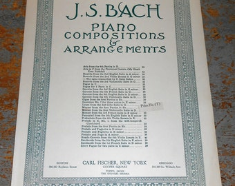 Vintage Music Sheets, J.S. Bach,  Piano, Old, Music Score, Sheet Music, Piano Music