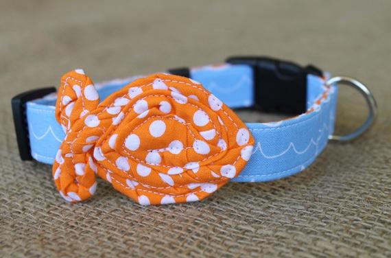 Fish dog collar light blue wave print with bright orange dot for Fish dog collar