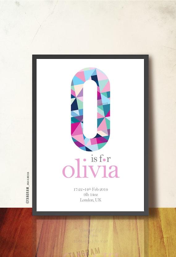 Geometric print custom monogram poster children personalized like this item negle Choice Image