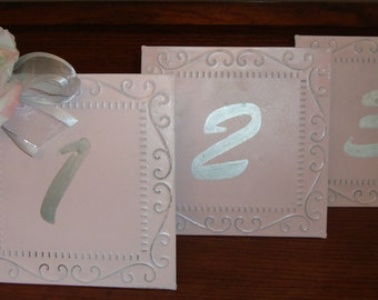 DominionDesign, Custom, Classy Tin Ceiling Wedding Table Numbers, Shabby Chic, Garden Chic, [Furn]