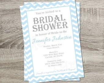 Printable Bridal Shower Invitation - Blue & White Chevron 5x7 Invitation