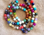 6mm mixed gemstone strand, full strand assorted stones