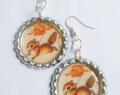 Squirrel Vintage Animal Bottle Cap Earrings