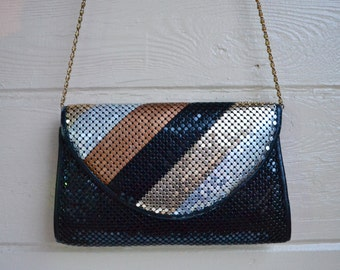 Vintage 80s Shiny Sequin Purse Evening Handbag by Marlo Black Gold Copper and Silver Disco Clubbing Purse Rave Punk Purse
