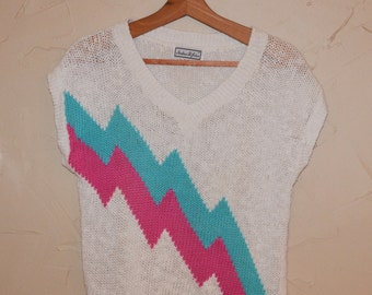 Vintage 80s Cable Knit Sweater Pullover Knit Sweater Jumper White with Neon Pink and Turquoise Abstract Design Size Medium