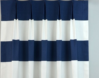 Navy Blue White Cabana Modern Wide Horizontal Stripe Curtains - Pinch Pleat - 84 96 108 120 Long - Optional Blackout or Cotton Lining