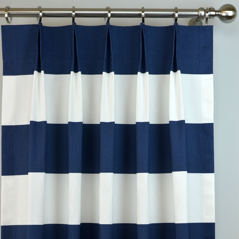 Navy Blue White Cabana Modern Wide Horizontal Stripe Curtains