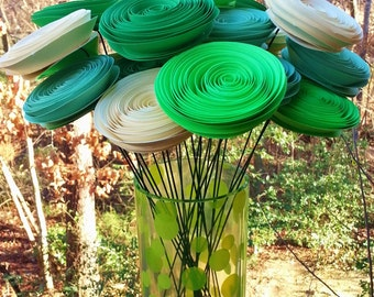 Paper Flower Bouquet in Mint Green, Lime Green, Kelly Green, Cream - Handmade Rolled Paper Flower Bouquet for Brides, Weddings, Showers
