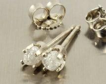 14K White Gold Post Earrings - White Raw Rough Diamonds - Uncut Unfinished Diamond Ear Studs - Conflict Free Diamonds