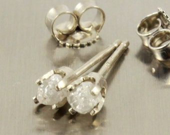 14K White Gold Post Earrings - White Raw Rough Diamonds - Uncut Unfinished Diamond Ear Studs - Conflict Free Diamonds