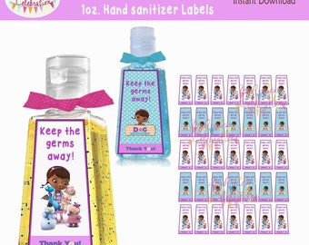 Hand sanitizer favor etsy digital doc mcstuffins instant download 1 oz hand sanitizer label favors doc birthdays pronofoot35fo Images