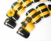 Bumblebee Fake Nails, False Nails, Acrylic Nails, Press on, Nails, 3D, Kawaii, Cute, Bee, Bumble Bee, Bow, Yellow, Nail Art