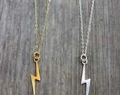 Gold or Sterling Silver Large Lightning Bolt Charm Necklace on 14k Gold Filled or Sterling Silver Chain Pendant Necklace
