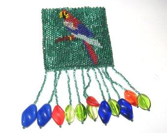 DECO Vintage 1920s CZECH Iridescent Green Art Glass Seed Bead PARROT Tropical Bird Fringed Compact Pouch Purse Gatsby Flapper Jazz Downton