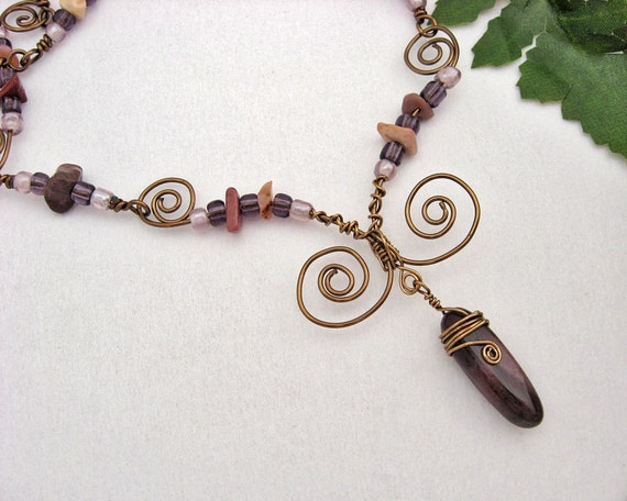 Mookaite Jasper Necklace, Wire Wrapped, Antiqued Bronze Wire, Glass Seed Beads, Creamy Yellow, Dusty Rose, Spirals Swirls, Handmade, Gift